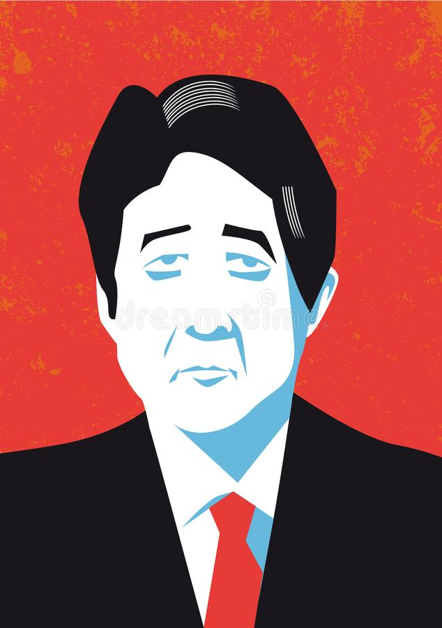 Vector portrait of japan Prime Minister Shinzo Abe vector illustration