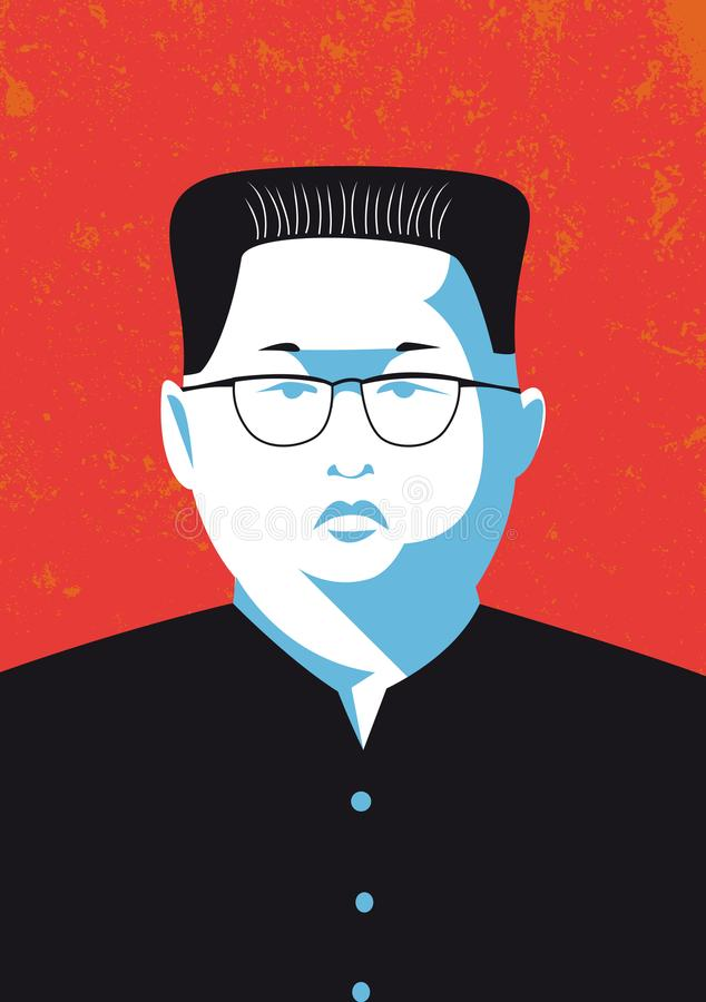 Vector portrait of Kim Jong-un the leader of North Korea royalty free illustration