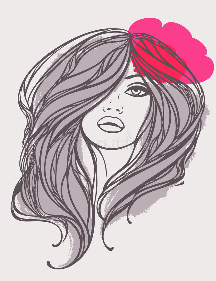 Vector Portrait Of Long Haired Girl With Flower. Stock Images