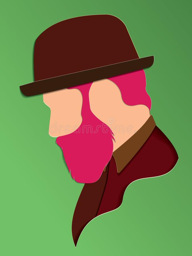 Vector portrait of Man with a hat . Modern digital paper layered art. Origami style. Beauty and fashion concept.paper cut 3d. Vector eps10 vector illustration