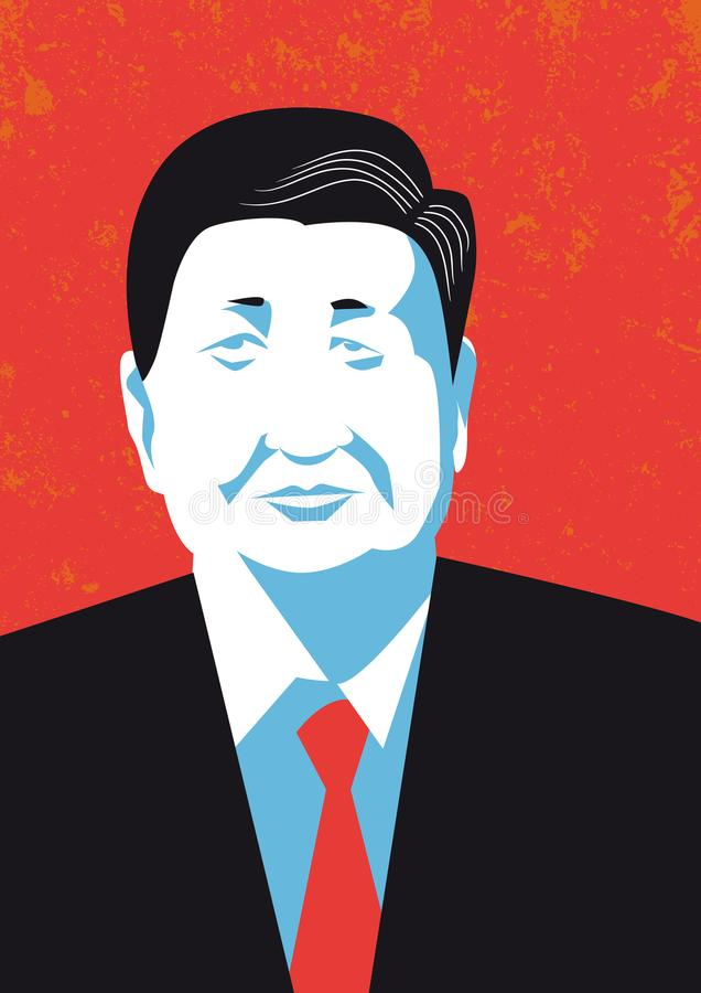 Vector portrait of the President of People`s Republic of China Xi Jinping stock illustration
