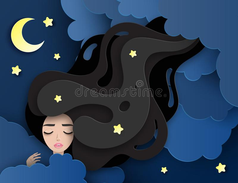 Vector portrait of sleeping young beautiful woman with long wavy hair. Fluffy paper clouds, moon and stars. Sweet dreams concept. Modern digital paper layered royalty free illustration