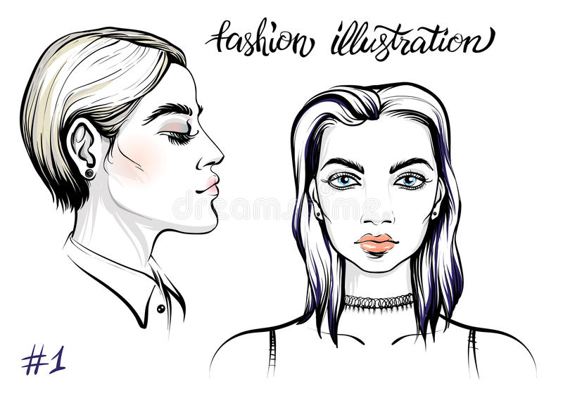 Vector portrait of woman, fashion illustration. vector illustration