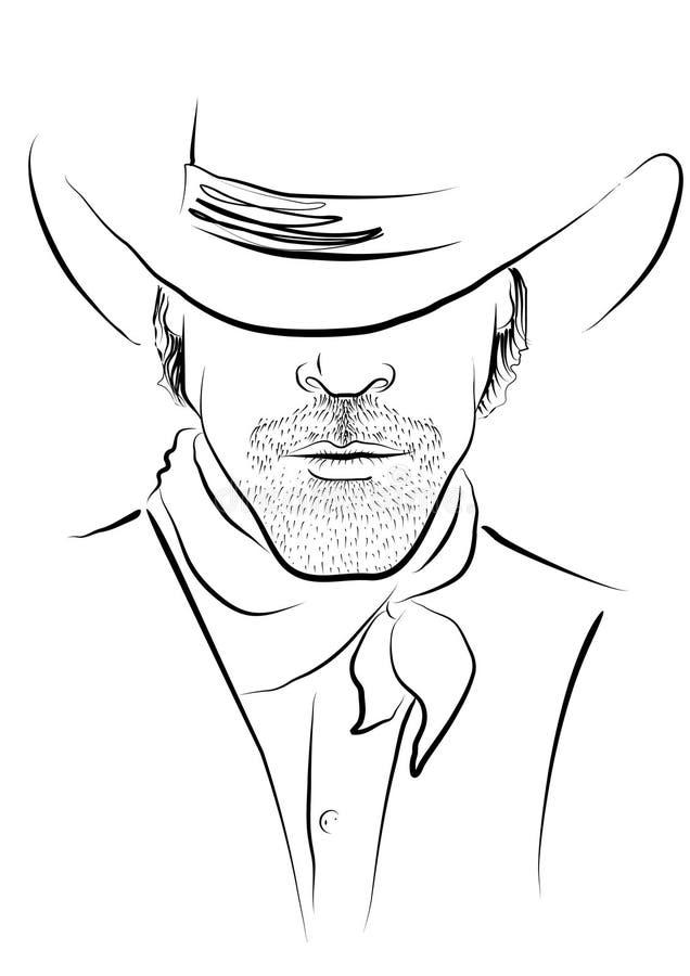 Vector portret van cowboy vector illustratie