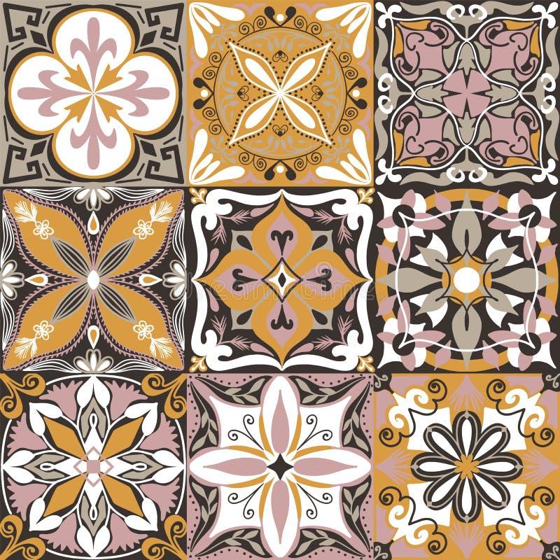 Vector Portuguese Azulejo Tiles Seamless Pattern Background. royalty free illustration