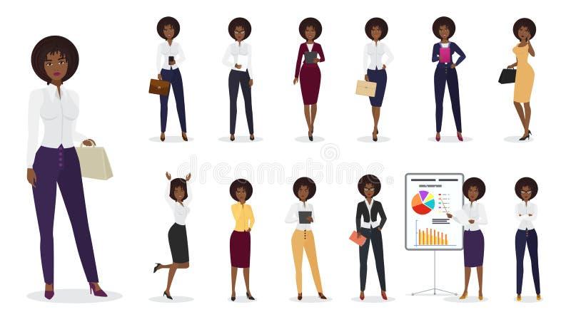 Vector a posição fêmea da mulher de negócios afro-americano dos desenhos animados em posições diferentes Jogo de caracteres da mu ilustração stock