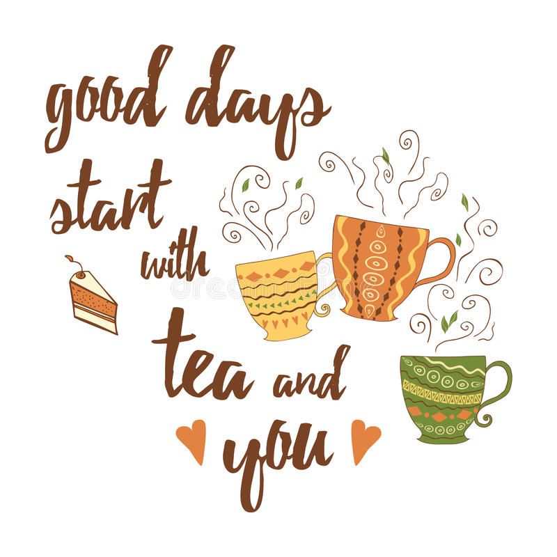 Vector positive emotional quote and sayings stock vector vector positive emotional quote and sayings good days start with tea and you decorative card with unique typography design element for greeting cards m4hsunfo