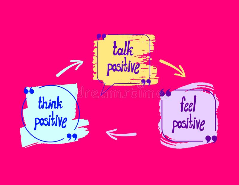 Vector Positive Lettering, Letterings on Bright Pink Background: Think Positive, Talk Positive, Feel Positive. stock illustration