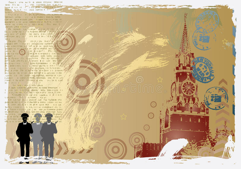 Vector post card design with kremlin stock illustration