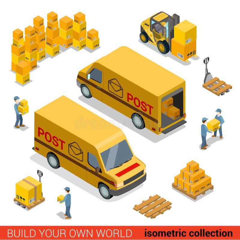 Vector postal 3d plano isométrico del paquete de la furgoneta de suministro de servicios stock de ilustración