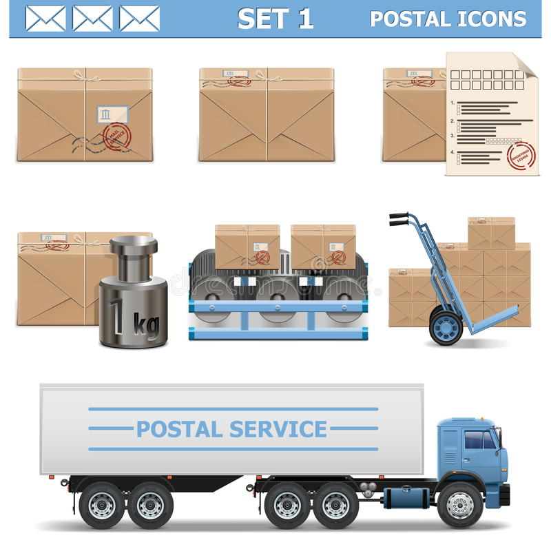 Free Vector Postal Icons Set 1 Stock Photography - 36722022