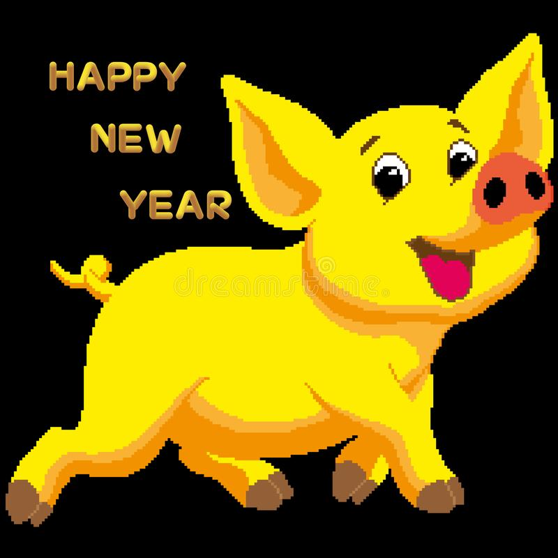 Vector postcard, congratulations on the New Year 2019 with a yellow earthen pig. The text is written in a decorative font in the f royalty free illustration