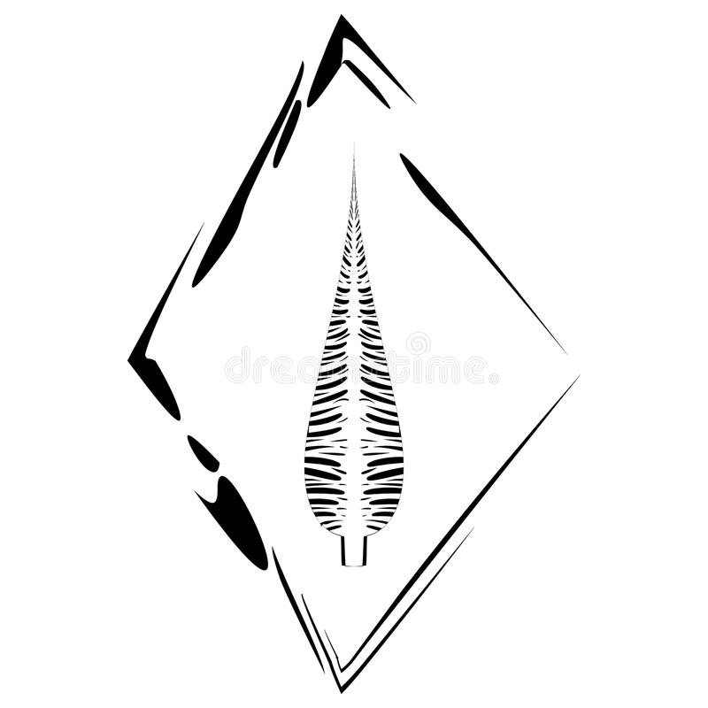 Vector postcard with a feather in a rhombus frame in ethnic style on a white background. royalty free illustration