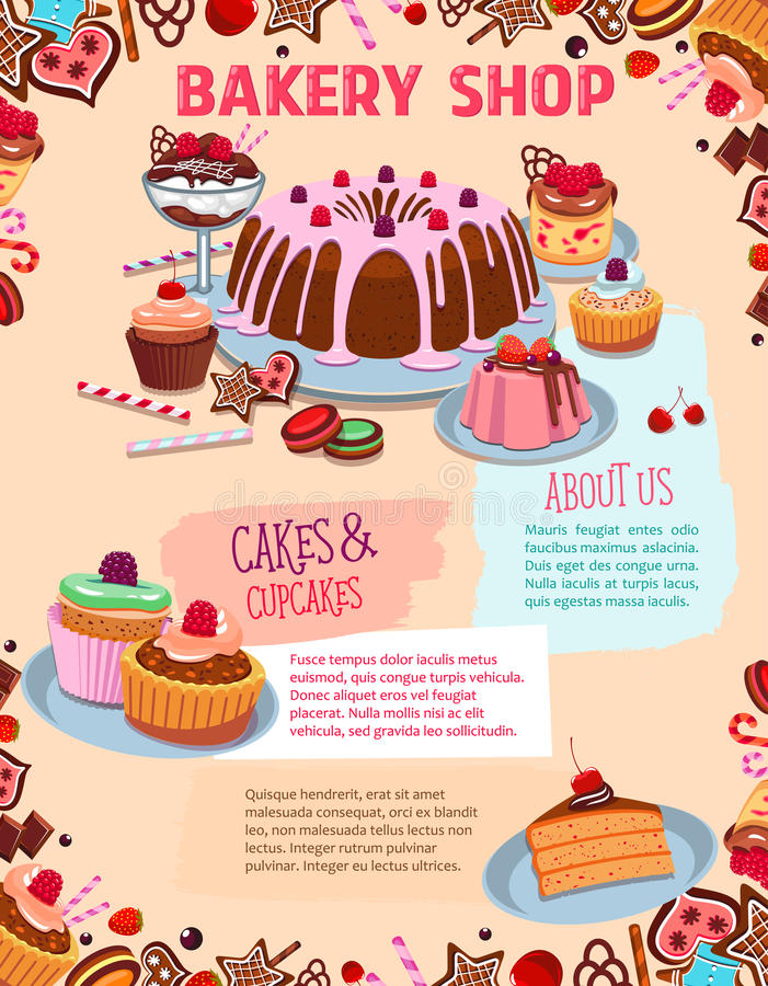 Lemonade Stand Poster Designs : Vector poster for bakery shop cakes and desserts stock