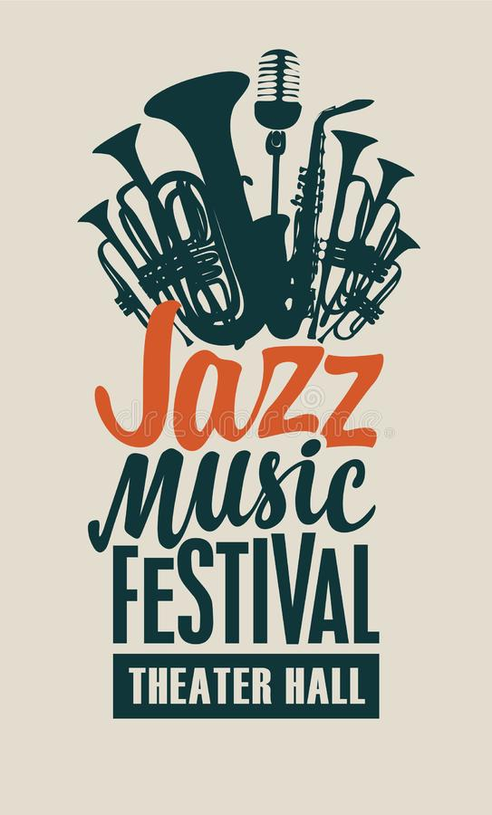 Vector poster for a jazz music festival. Vector poster or banner for a jazz music festival in retro style on light background with wind instruments, saxophone stock illustration