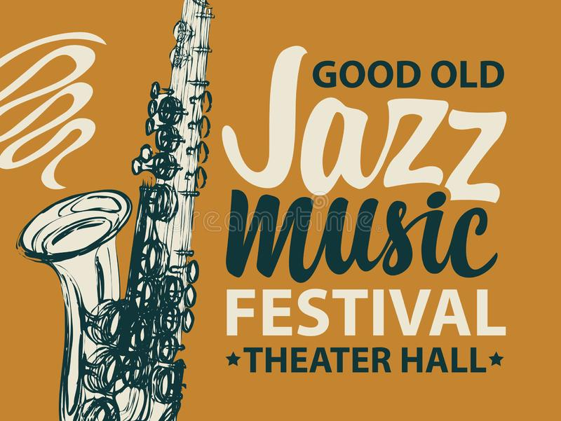 Vector poster of banner for a jazz music festival. With a silhouette of saxophone and calligraphic inscription in retro style on dark background royalty free illustration