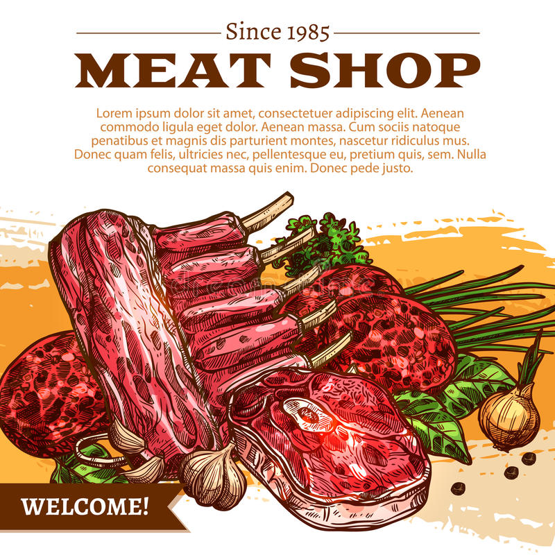 Vector poster for butchery shop meat products. Meat shop poster of butchery products. Vector design of fresh raw mutton or pork ribs, beef tenderloin or sirloin stock illustration