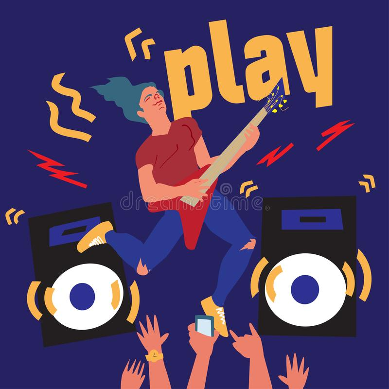 Vector poster Carefree Youth. The guy plays the guitar. Flat Illustration for music festival. vector illustration