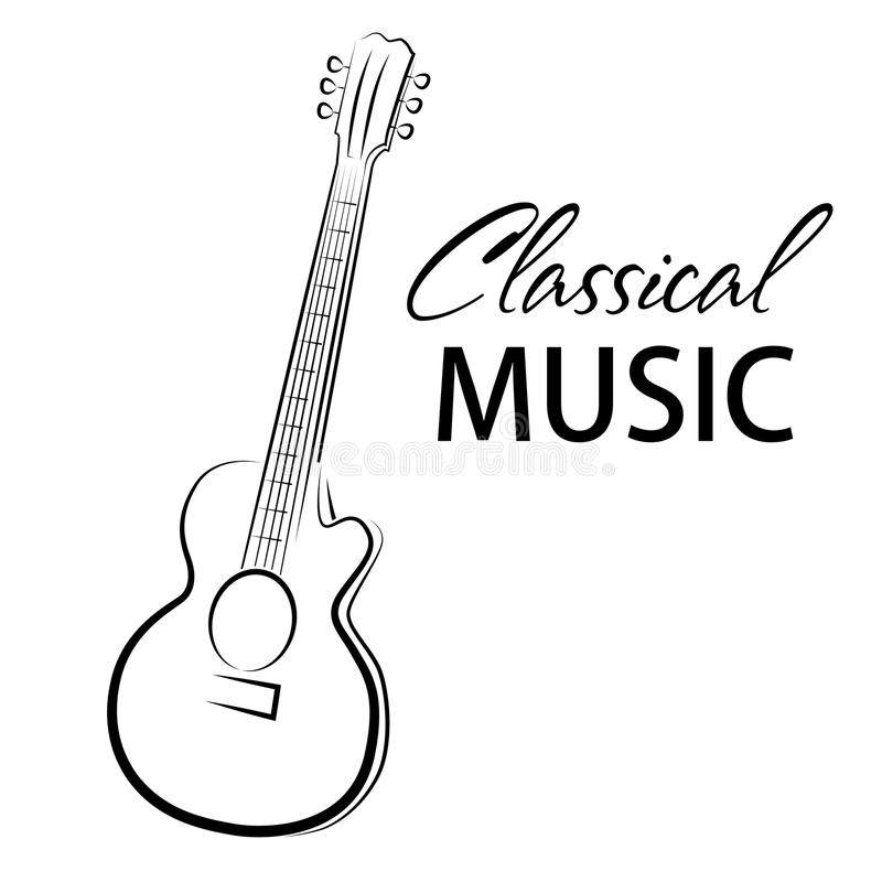 Vector poster for a concert of classical music with guitar royalty free illustration