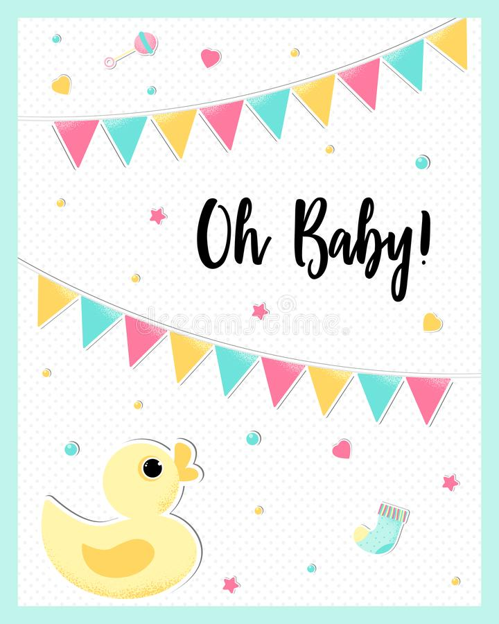 Vector poster of a cute baby duck. stock illustration