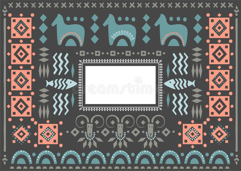 Vector poster decorated with scandinavian ornaments with empty place for text on a black background. stock illustration