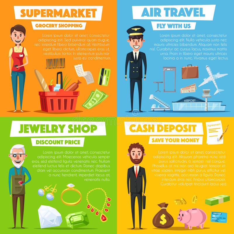 Vector Poster des Einkaufs-, Schmuck- und Flugzeugverkehrs stock abbildung