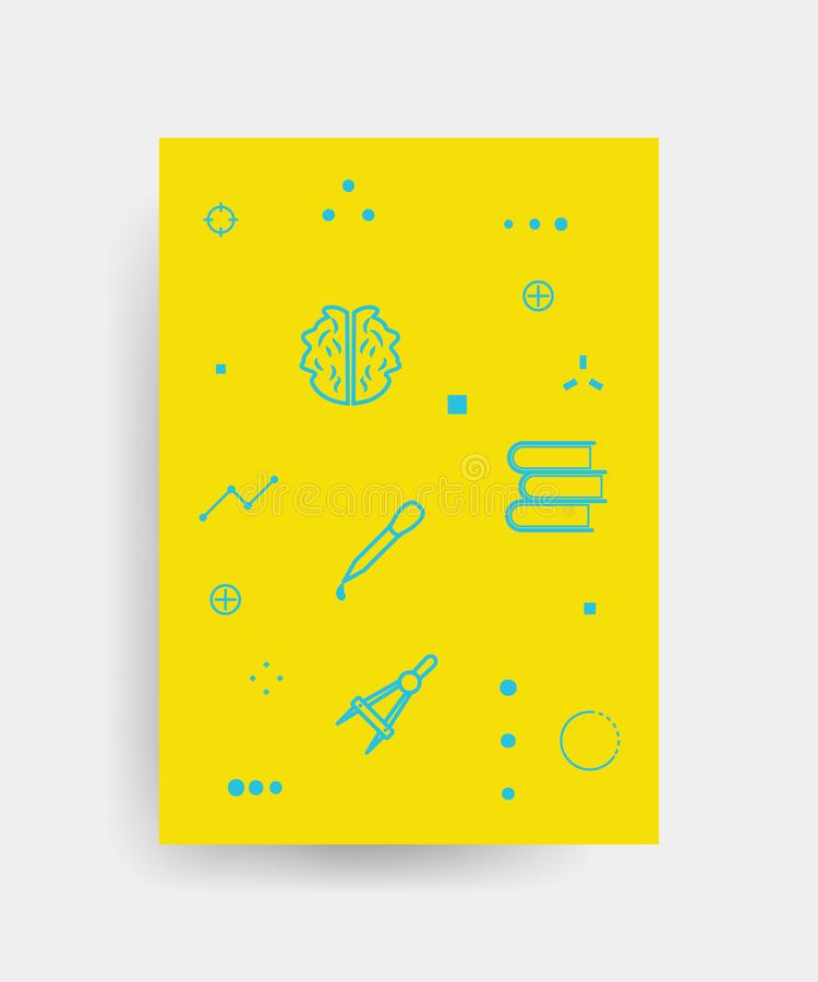 Vector poster design for Back to school with high detailed illustrations. Wrinkled paper, school supplies icons royalty free illustration