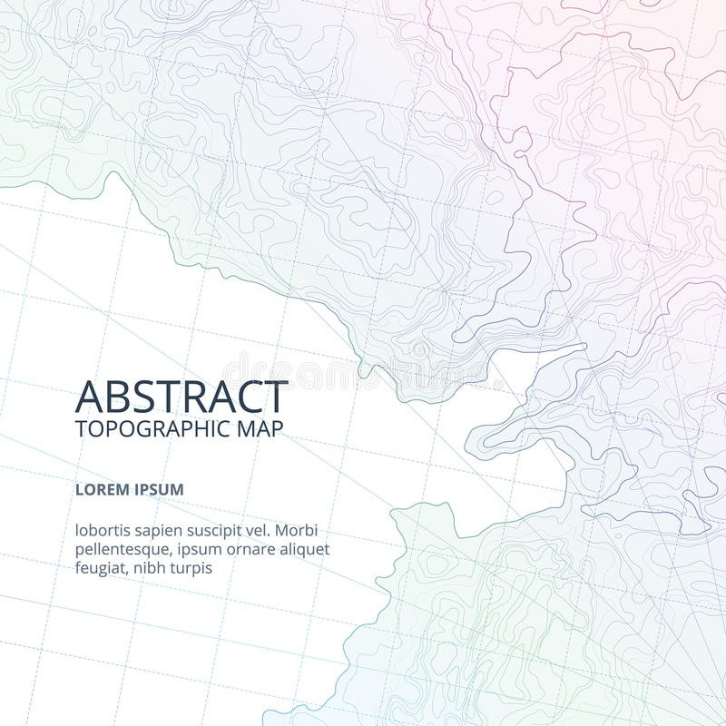 Vector poster design from lines contour topographic map. Abstract hills and different navigation elements royalty free illustration