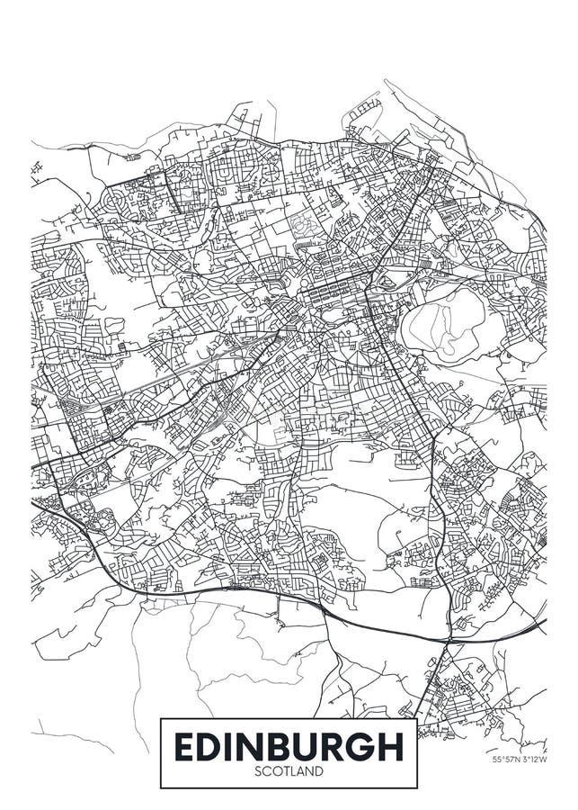 Vector poster detailed city map Edinburgh royalty free illustration