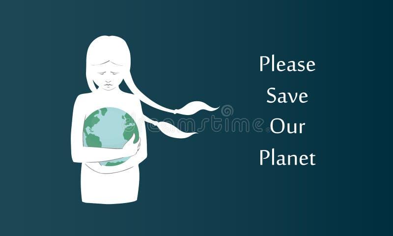 Vector-Poster einer weißen Silhouette-Mädchen mit langen Haufen auf unserem Planeten auf dem dunklen Hintergrund Kann als vektor abbildung