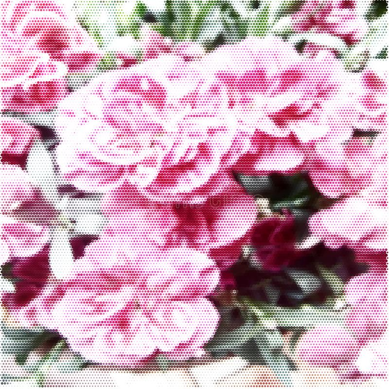 Poster of flowers.Halftone colored texture stock photo