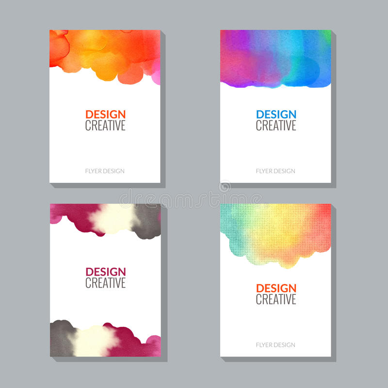 Paint Flyer Vector Poster Templates With Watercolor Splash Stock