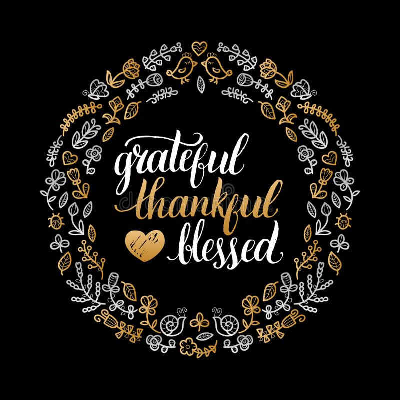 Vector Poster With Grateful, Thankful, Blessed Lettering In Floral ...