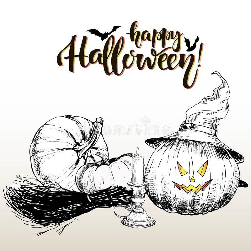 Vector poster greeting card for Halloween. Pumpkin wearing the witch hat. Vintage hand drawn illustration. royalty free illustration
