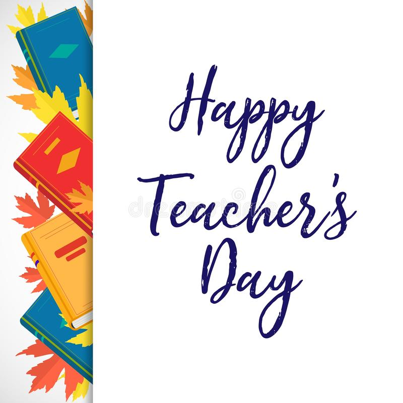 Vector poster Happy Teachers Day with books and autumn leaves. vector illustration