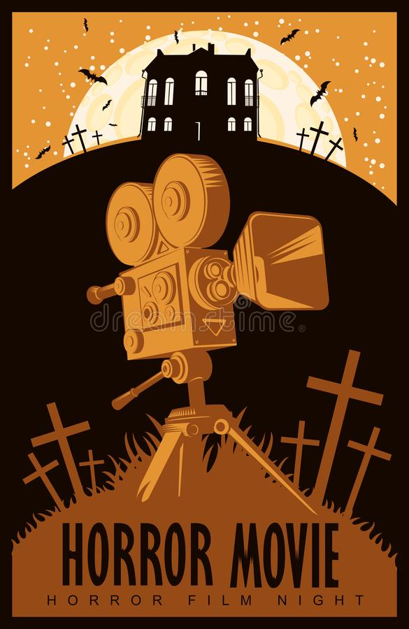 Vector poster for horror film night, horror movie. Vector poster for a festival of horror movie with an old film projector on a cemetery on a moonlit night royalty free illustration