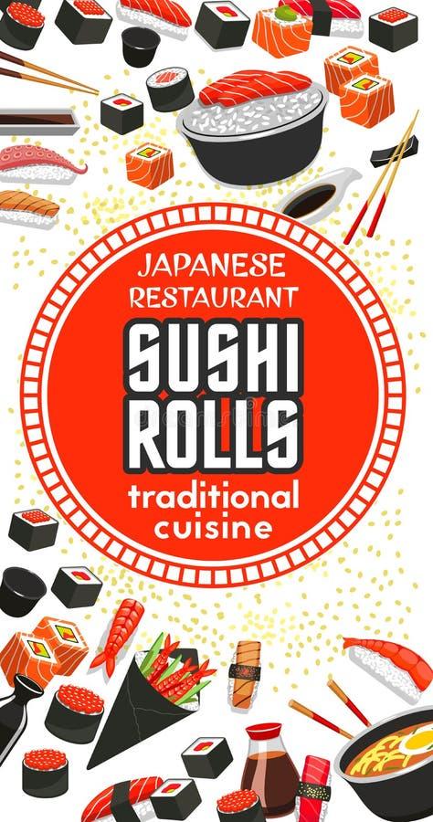Vector poster of Japanese sushi cuisine restaurant stock illustration