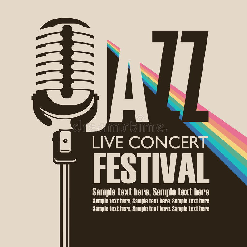 Poster for concert of jazz music with a microphone. Vector poster for a jazz festival live music with a microphone, rainbow rays and place for text in retro royalty free illustration