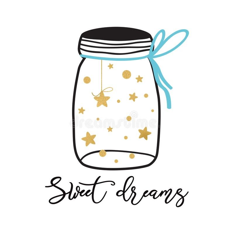 Vector poster kids room with text Sweet dreams Cute nursery poster for baby with gold stars into glass jar Good night stock illustration