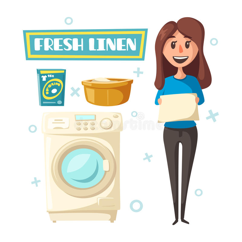 Vector poster with laundry and washing machine. Laundry poster with washing machine, detergent and fresh washed linen clothes. Vector design with woman holding vector illustration