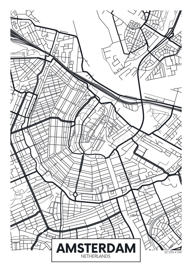 Free Vector Poster Map City Amsterdam Royalty Free Stock Images - 90433279