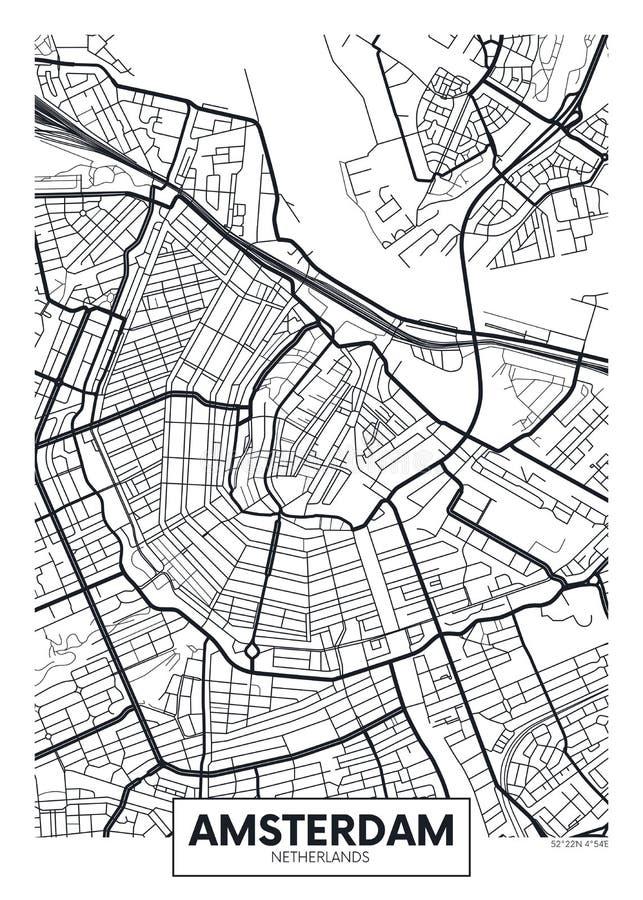 Vector poster map city Amsterdam stock illustration
