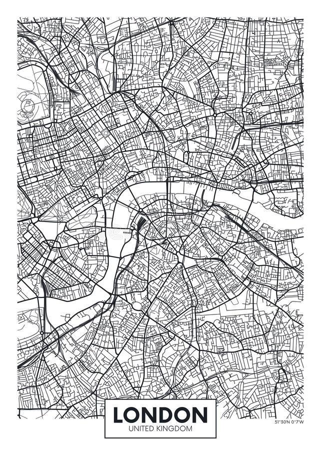 Vector Poster Map City London Stock Vector Illustration of