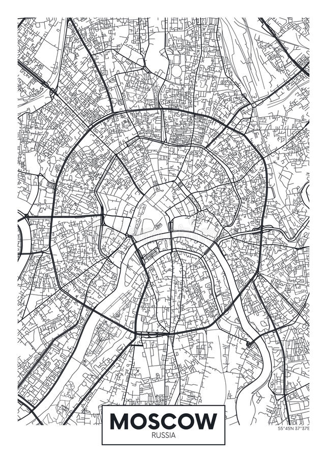Vector poster map city Moscow stock illustration