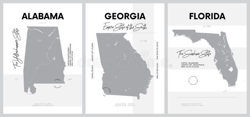 Vector Poster mit hochdetaillierten Silhouetten von Karten der Bundesstaaten Amerika, Abteilung Südatlantik und Ost-Süd-Zentralze lizenzfreie abbildung