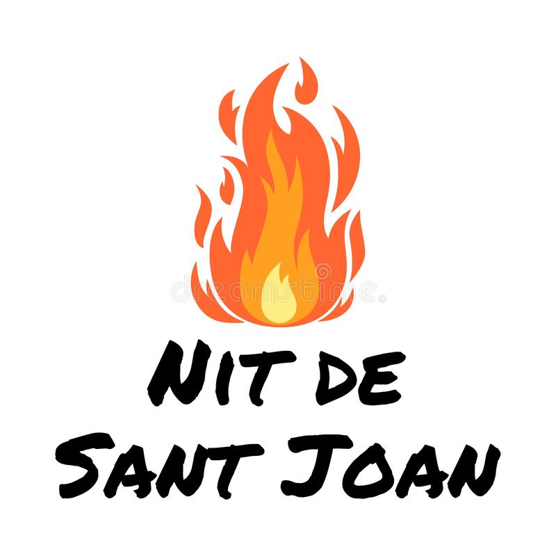 Vector poster Night of Saint John on catalan language. Vector festive poster Night of Saint John with cartoon bonfire isolated on white. Catalan language vector illustration