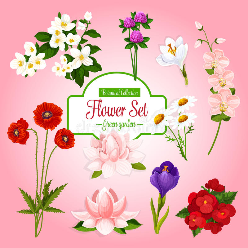 Free Vector Poster Of Spring Garden Flowers Set Royalty Free Stock Photos - 94731018