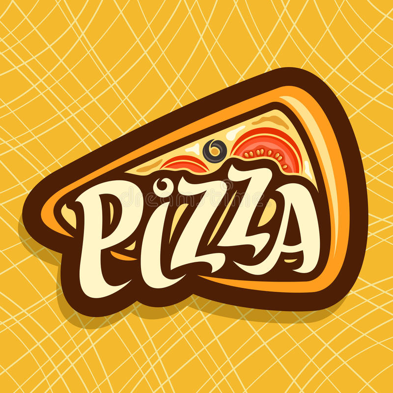 Vector poster for Pizza. Label with slice of italian pizza top view, melted cheese, tomato and olives, triangle logo with original font pizza on yellow vector illustration