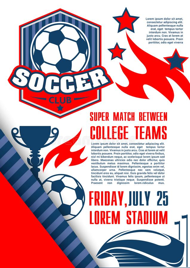 Vector poster for soccer football college league vector illustration