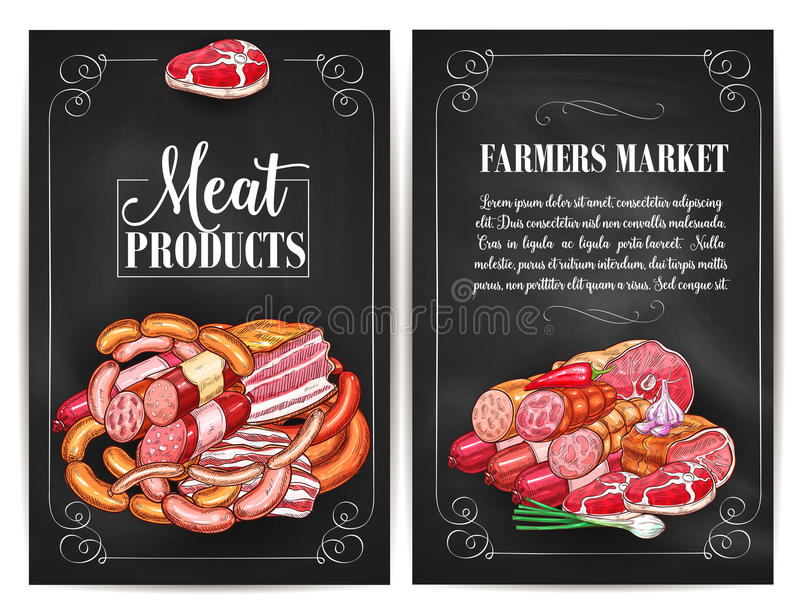 Vector posters for butchery shop meat products. Meat products of farmers market. Butchery shop meat delicatessen of ham or bacon brisket, butcher gourmet vector illustration